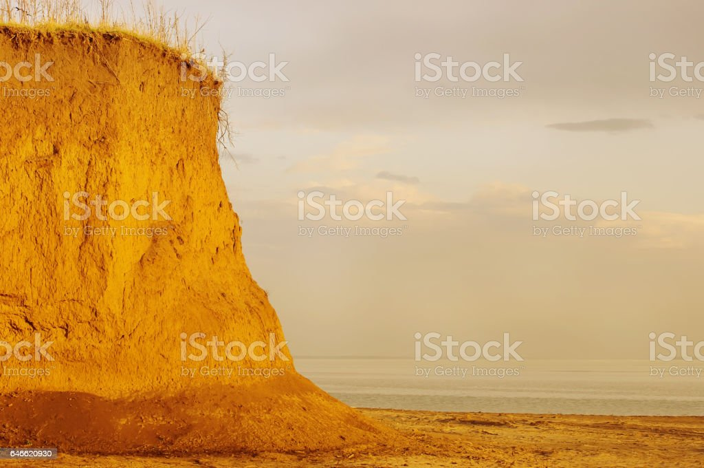 Sunrise with a beautiful cliff stock photo