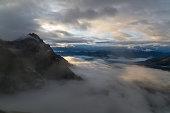Sunrise with foggy sky in the Lechtal Alps, Tyol, Austria