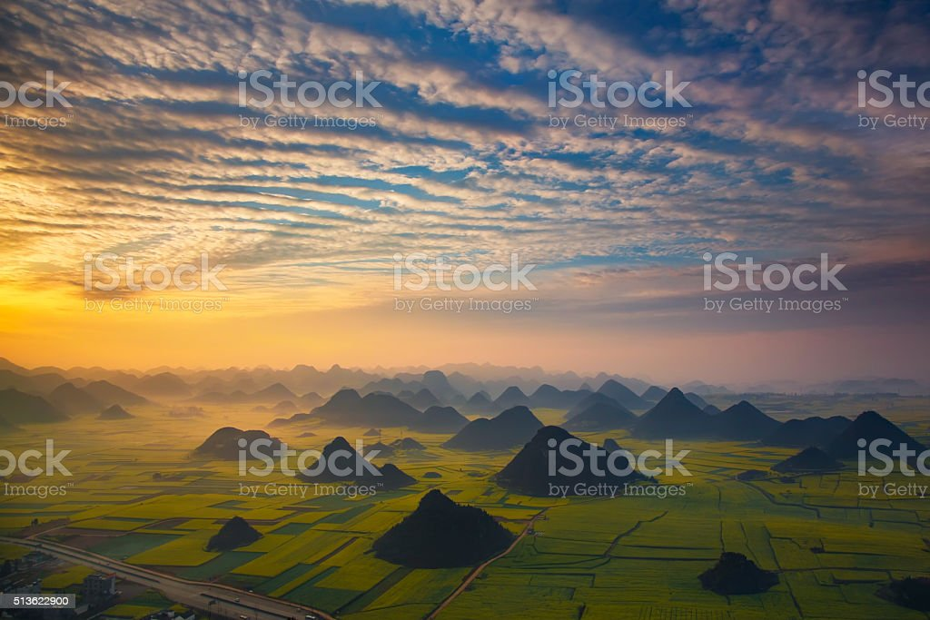 Sunrise with mountain in China stock photo