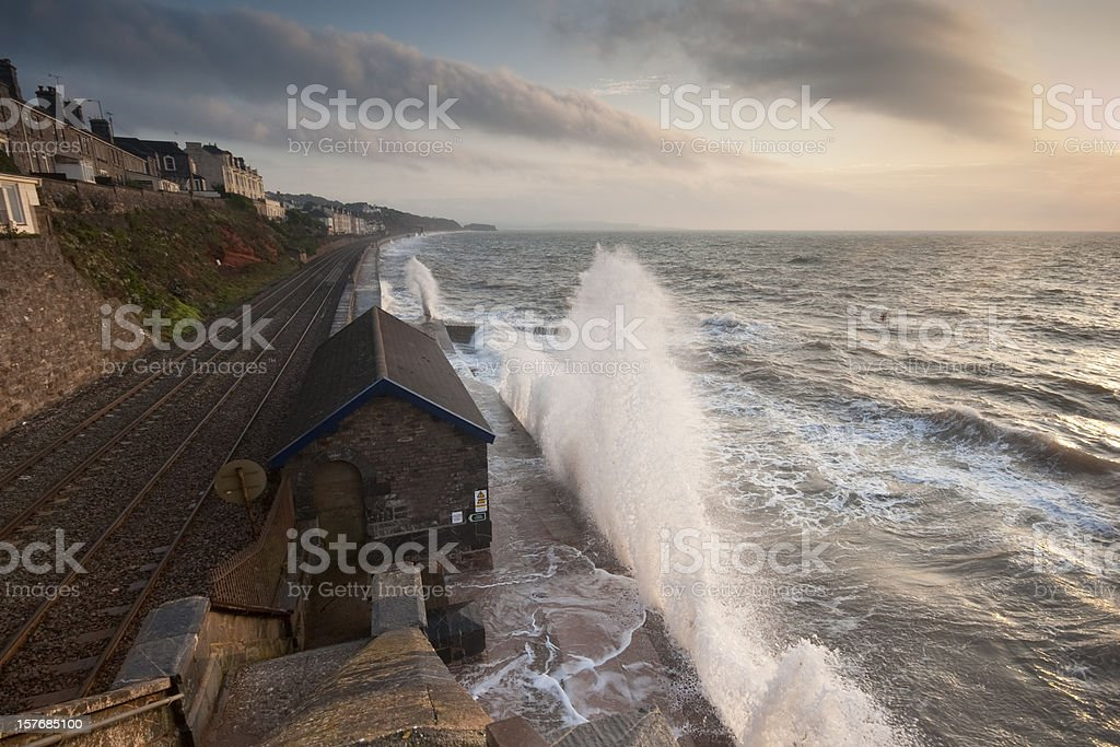 Sunrise with stormy conditions at Dawlish stock photo