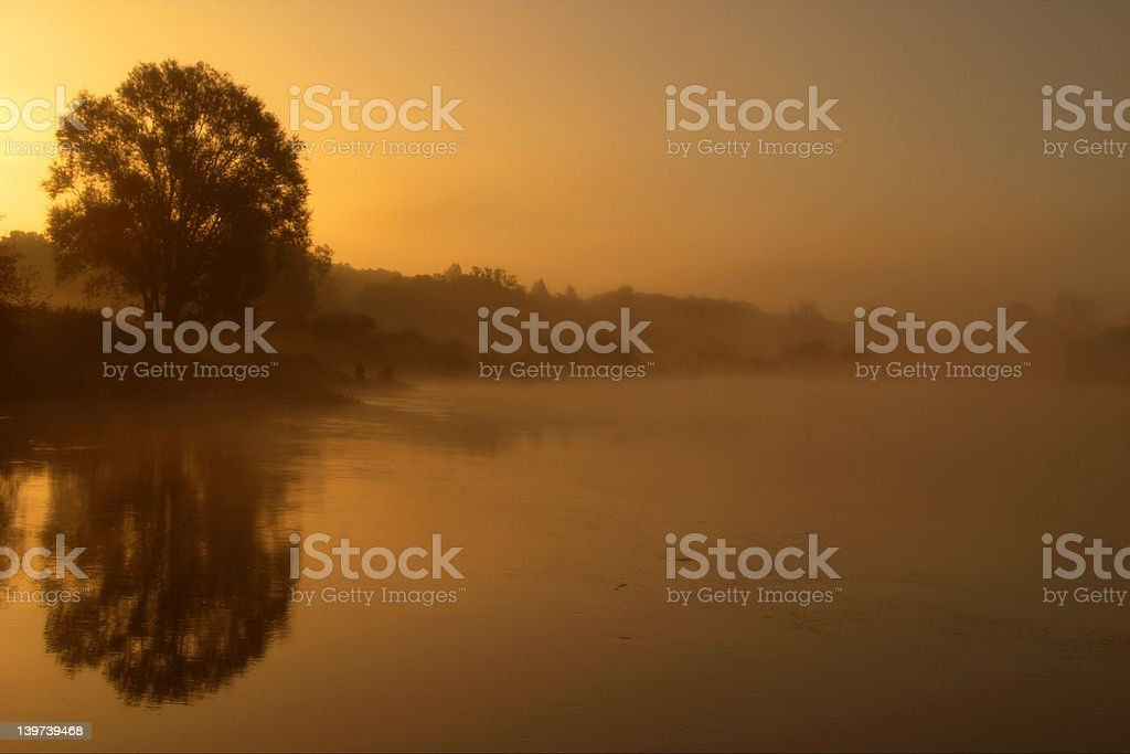 Sunrise with the fog royalty-free stock photo