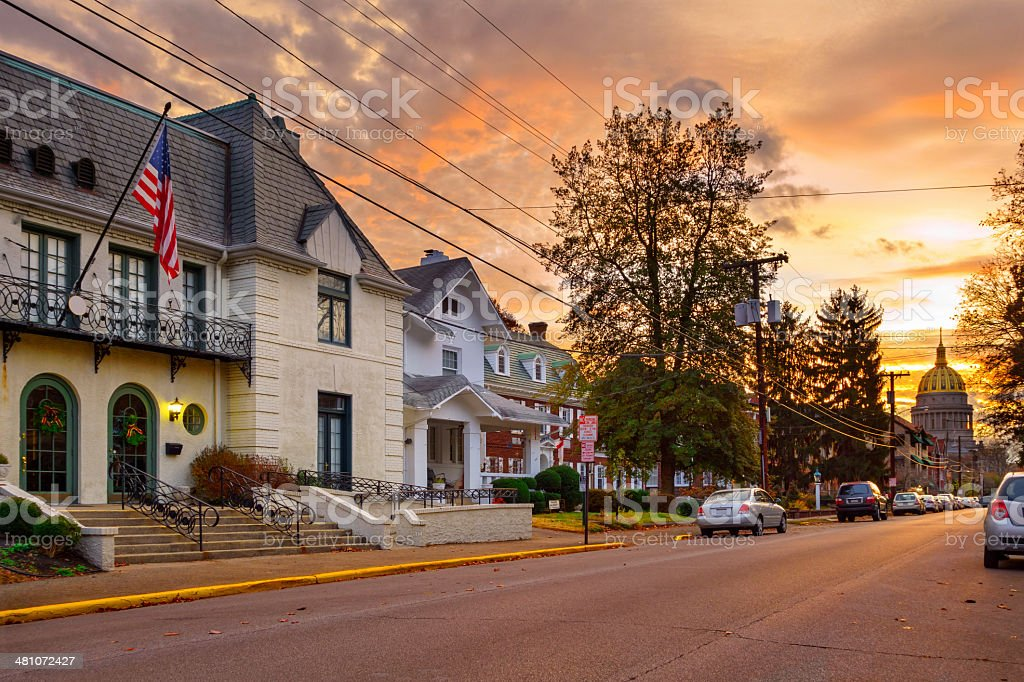 Sunrise with the State Capitol Charleston, West Virginia stock photo