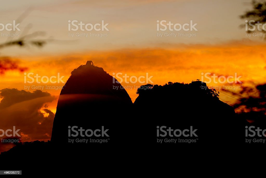 Sunrise with the sugarloaf in the foreground, Rio de Janeiro stock photo