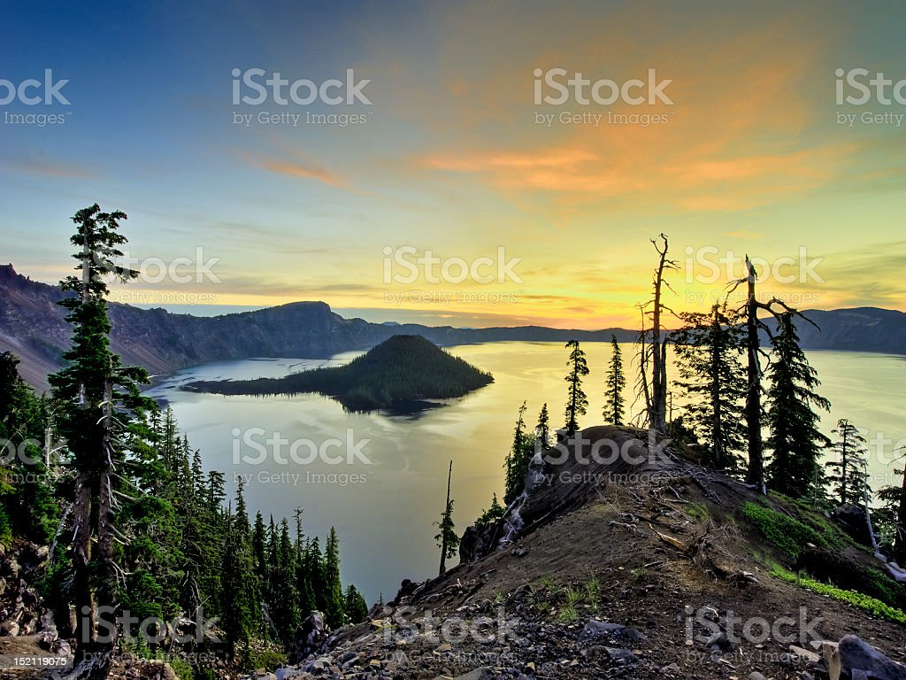 Sunrise, Wizard Island, Crater Lake, OR stock photo