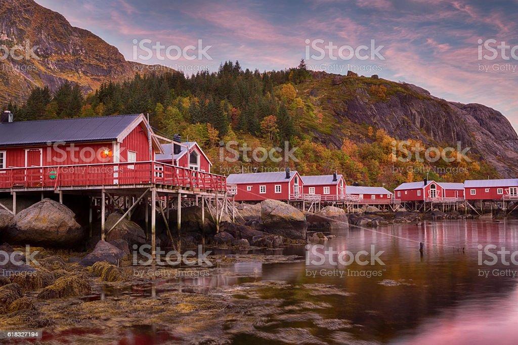 Sunrising on Nusfjord Village, Lofoten, Norway stock photo