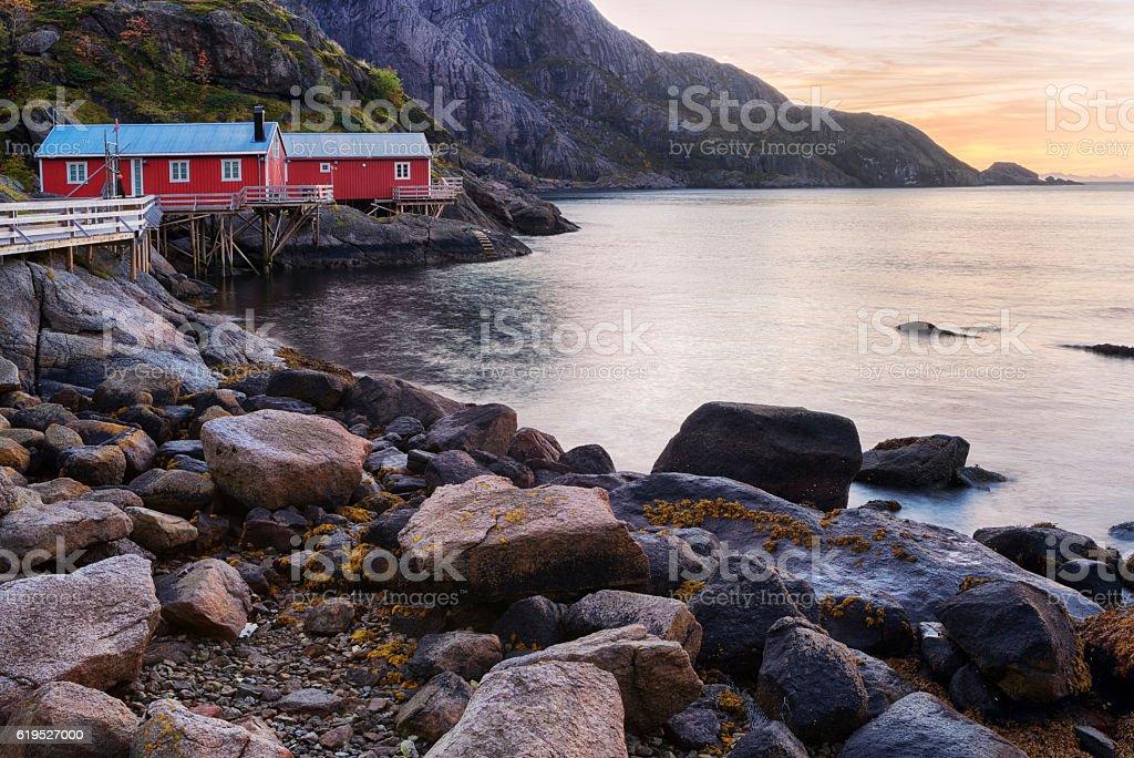Sunrising on Rorbus of Nusfjord Village, Lofoten, Norway stock photo
