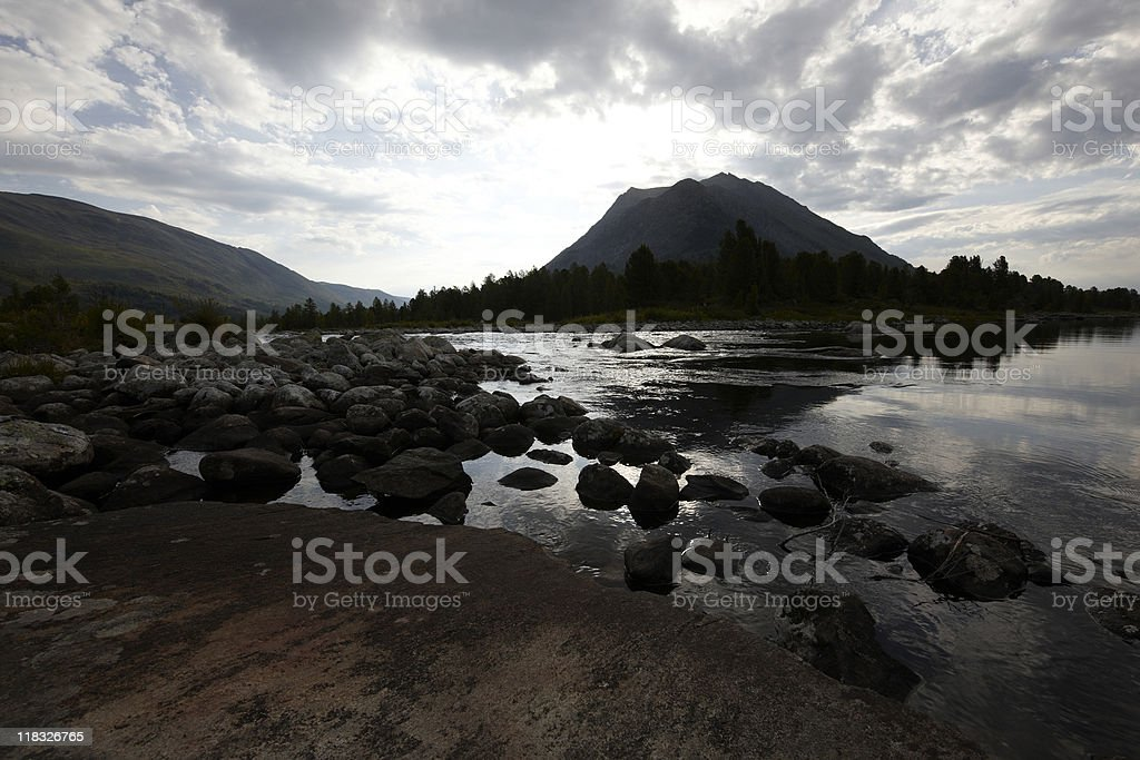 Sunrize on Alakhinskoe lake stock photo