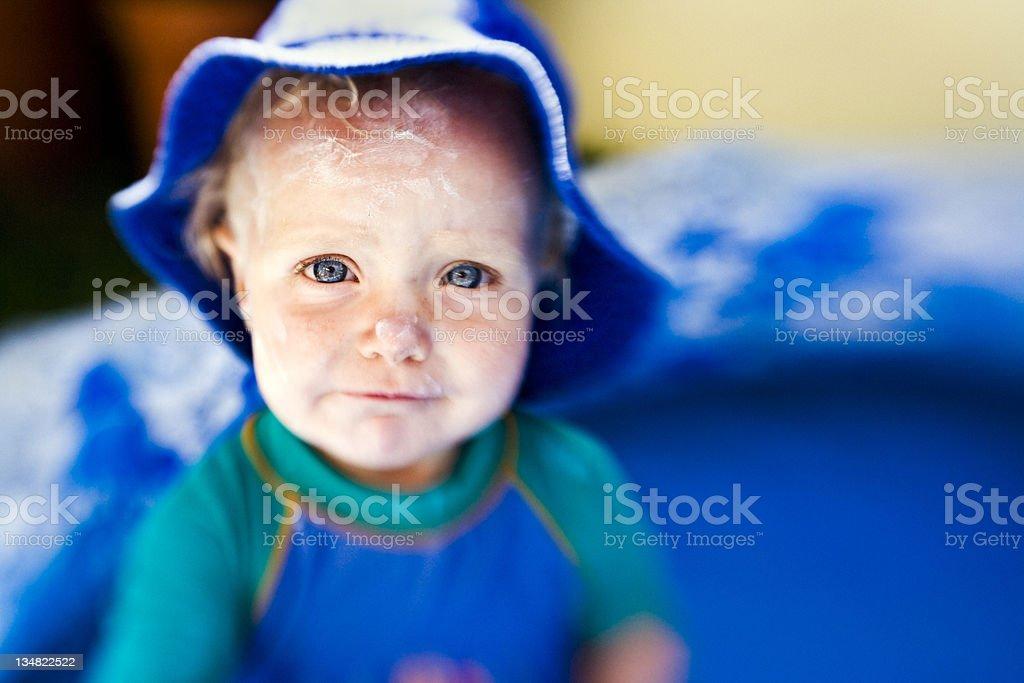 Sunscreen baby stock photo