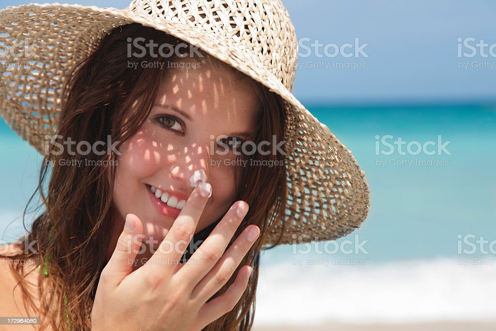 sunscreen girl stock photo