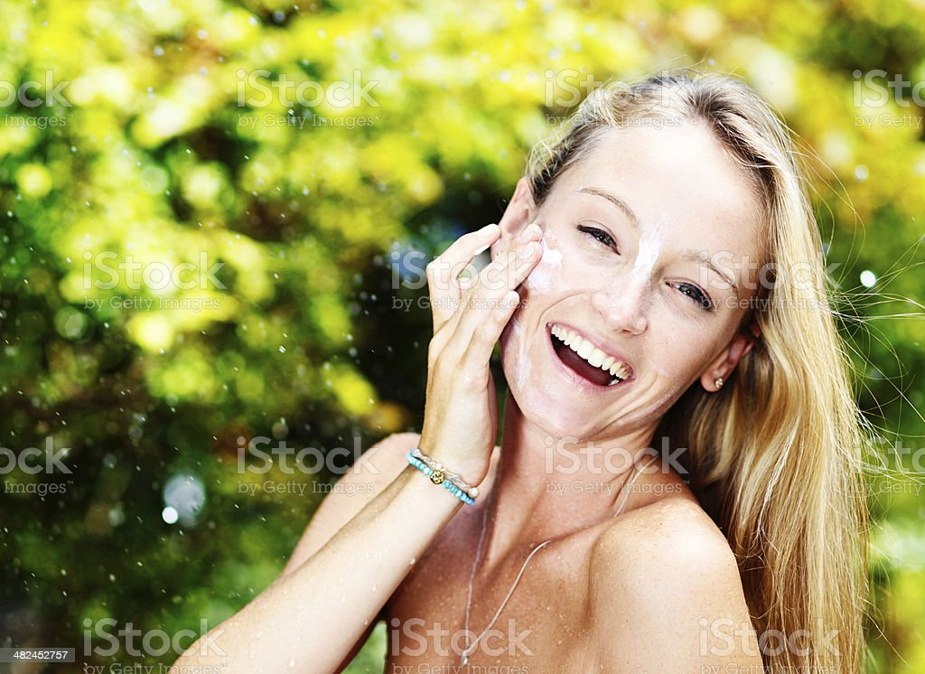 Sunscreen: the best anti-wrinkle protection ever! stock photo
