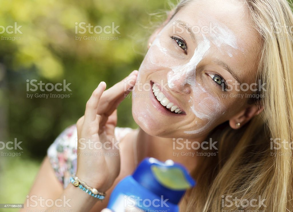 Sunscreen: your most important protection against skin cancer stock photo