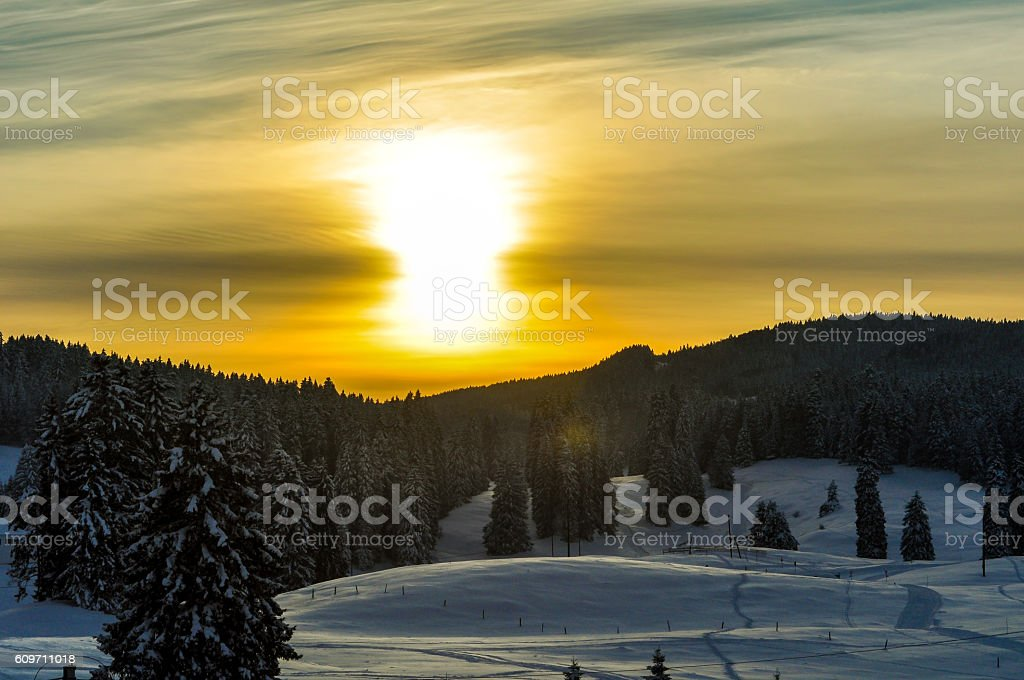 Sunset above a ski slope stock photo