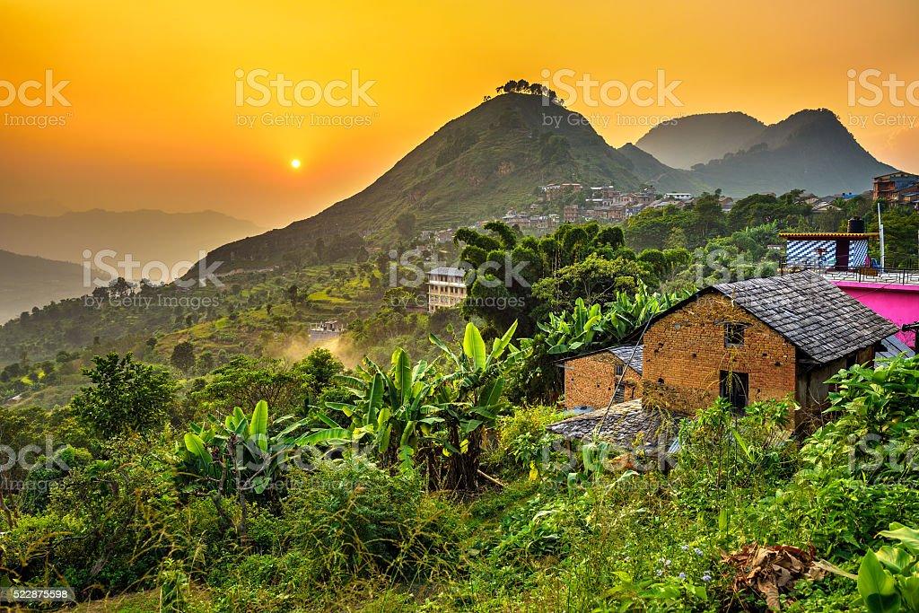 Sunset above Bandipur in Nepal stock photo