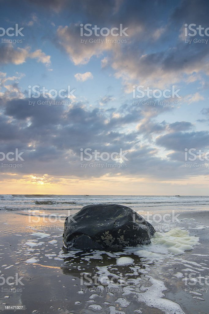 Sunset above Dutch beach royalty-free stock photo