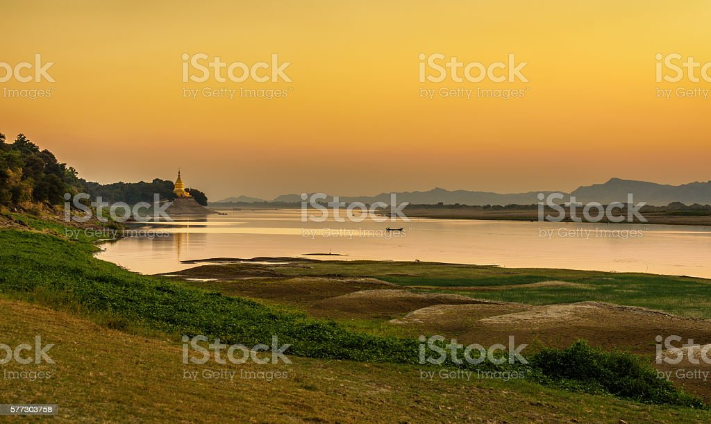 Sunset above Irrawaddy river in Bagan stock photo
