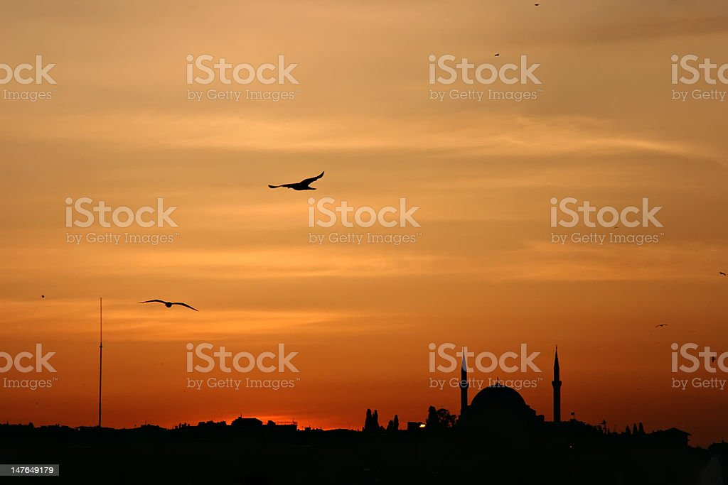Sunset above Istanbul royalty-free stock photo