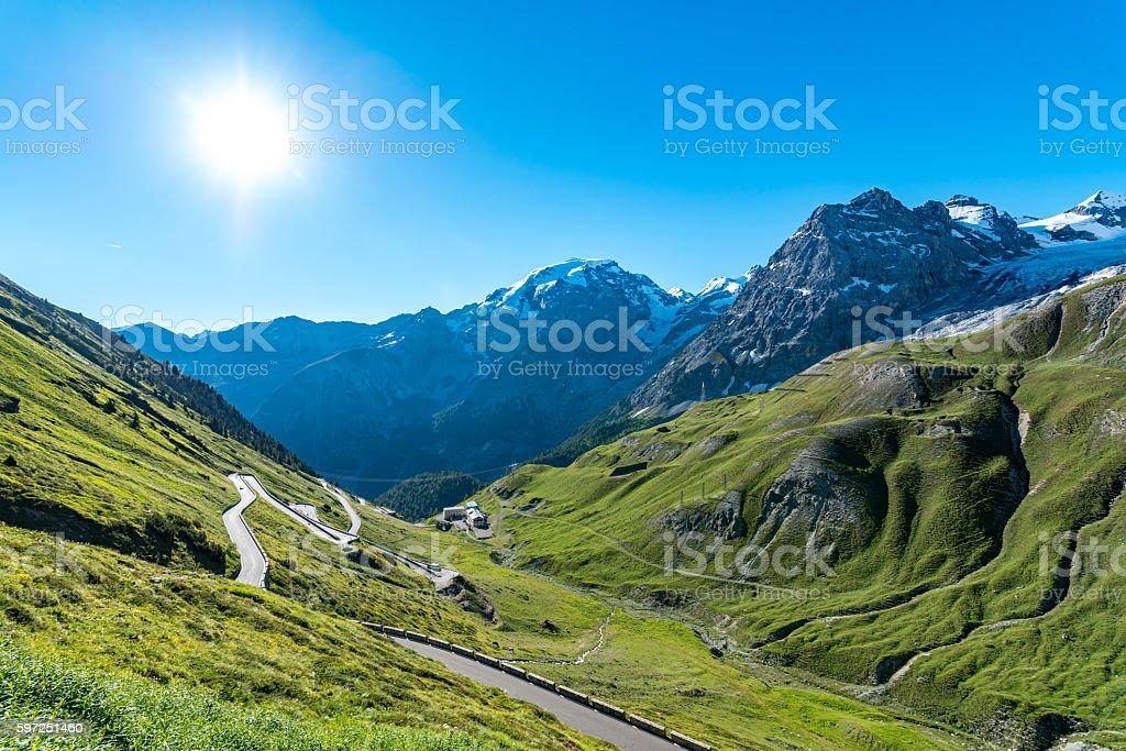Sunset above mountains Alps Passo Stelvio stock photo