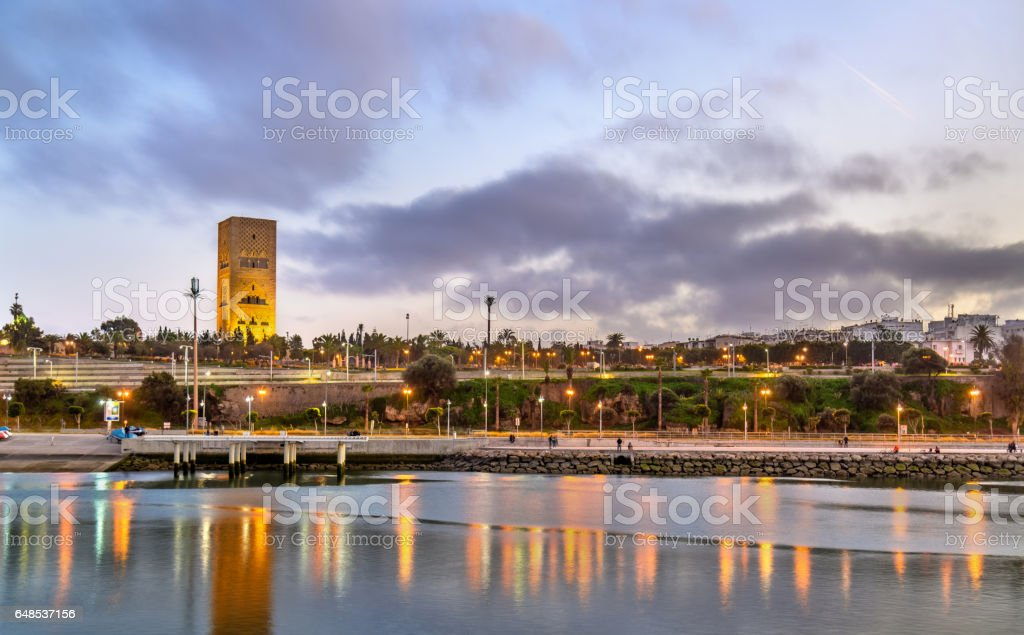 Sunset above Rabat and the Bou Regreg river, Morocco stock photo