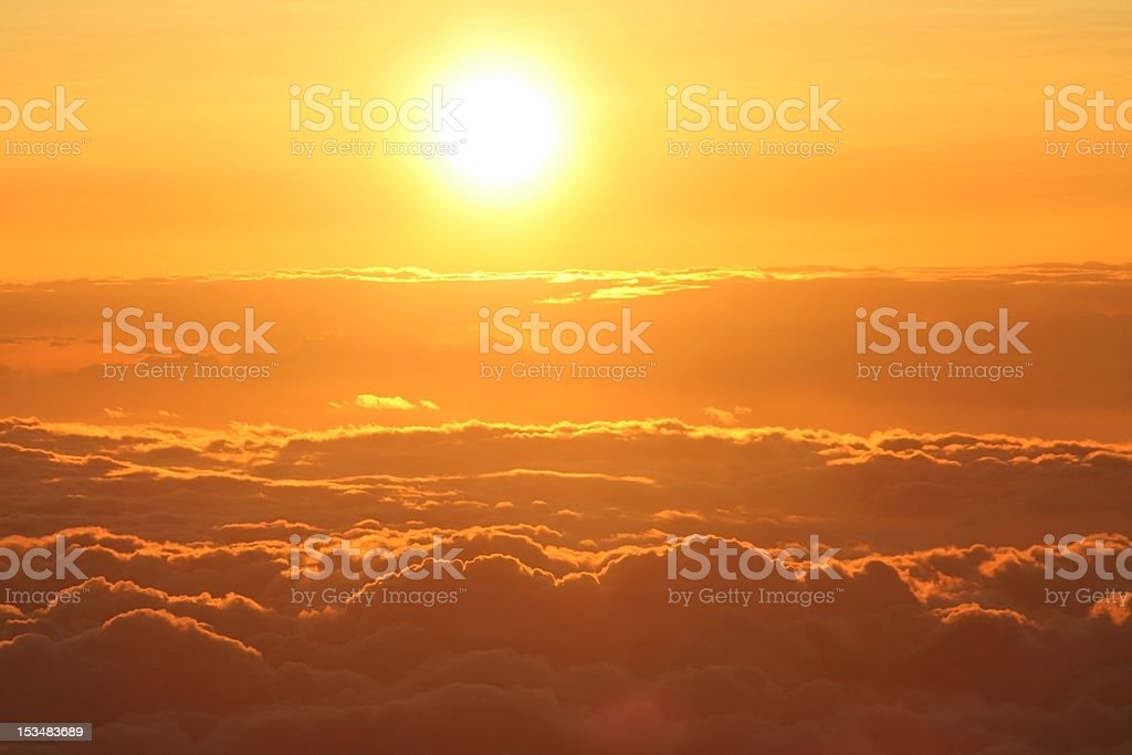 Sunset above the clouds in Hawaii stock photo
