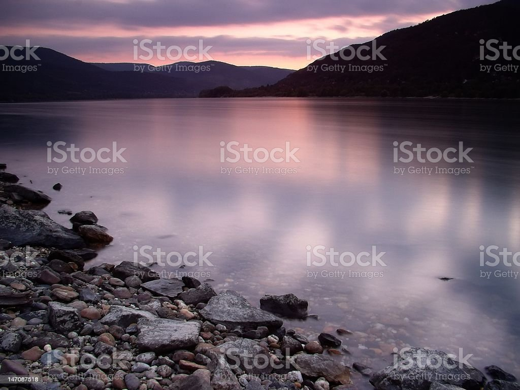 Sunset above the Danube royalty-free stock photo