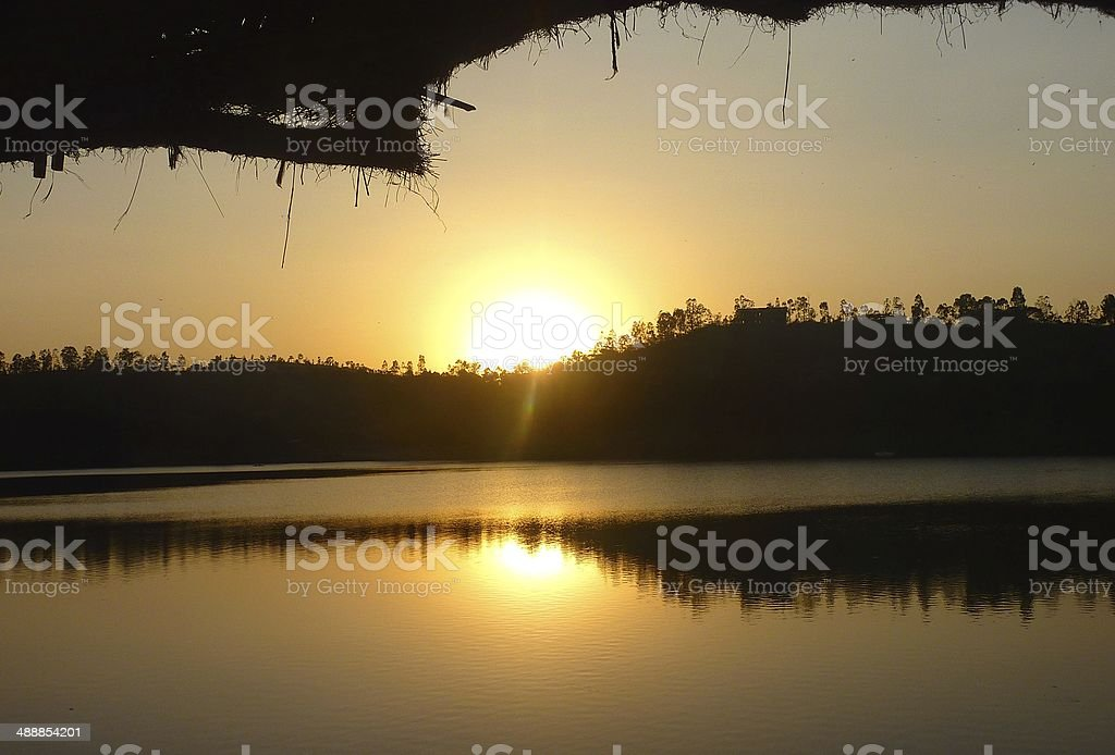 Sunset above the Kuriftu Lake, Ethiopia royalty-free stock photo