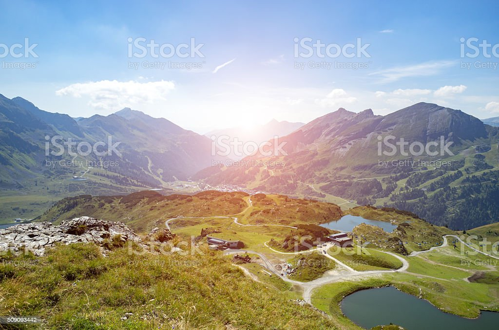 Sunset above the ski station in summer stock photo