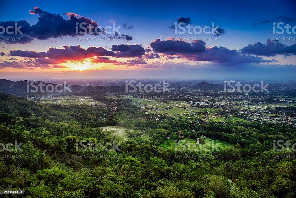 Sunset above town of Jogjakarta , Jawa, Indonesia stock photo