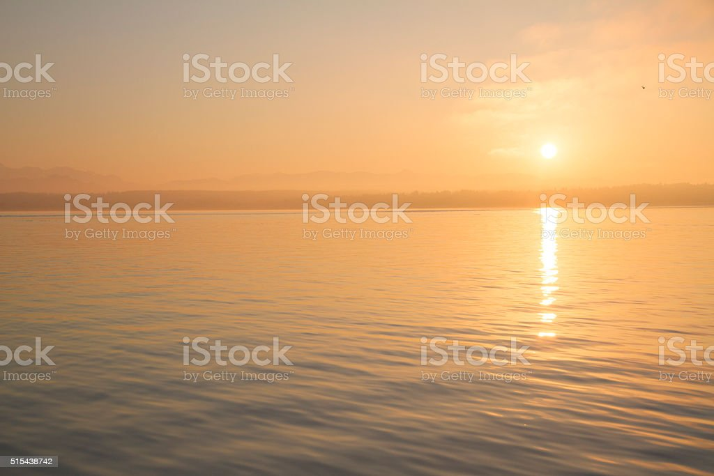 Sunset above Vancouber Island stock photo