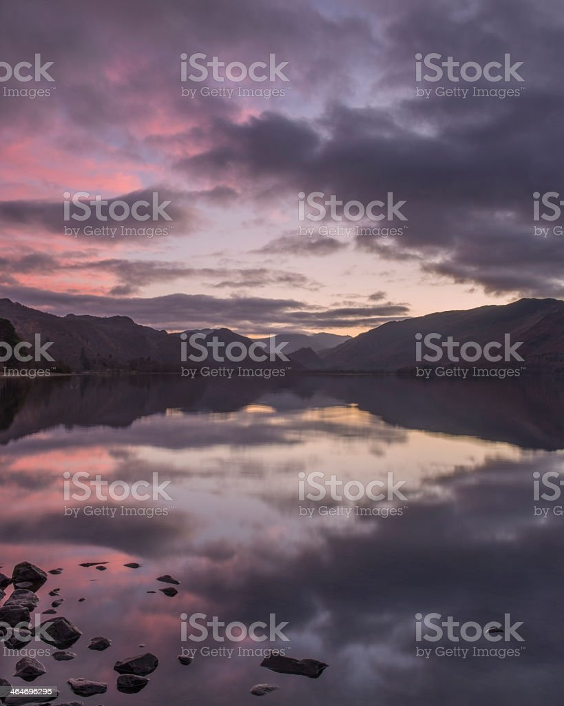 Sunset across Derwentwater in the English Lake District stock photo