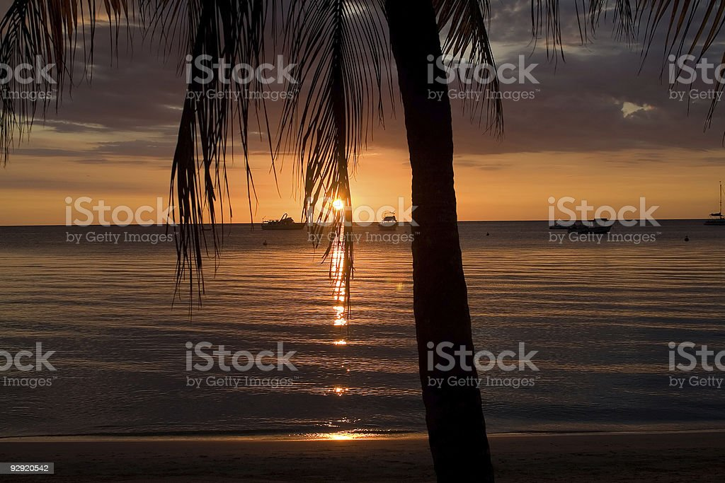 A sunset across the sea in the Caribbean stock photo