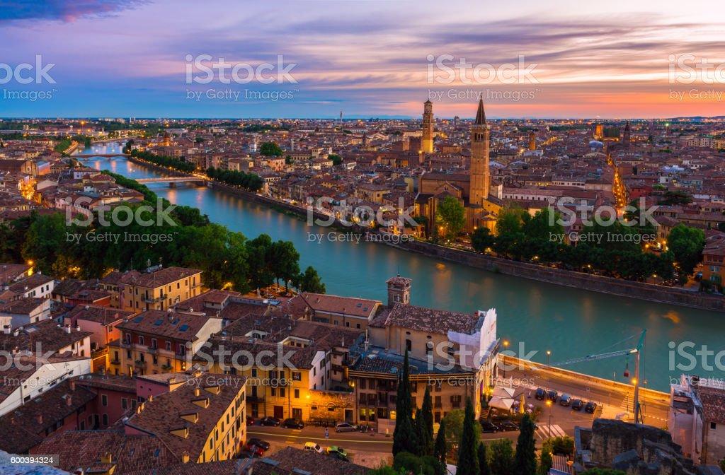 Sunset aerial view of Verona stock photo