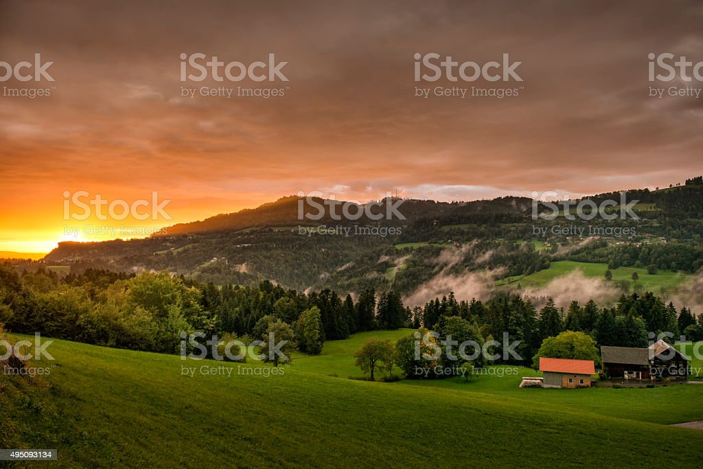 Sunset after a rainy day stock photo