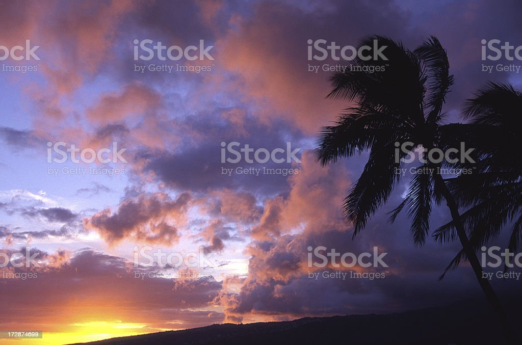 Sunset after a storm, Oahu, Hawaii stock photo