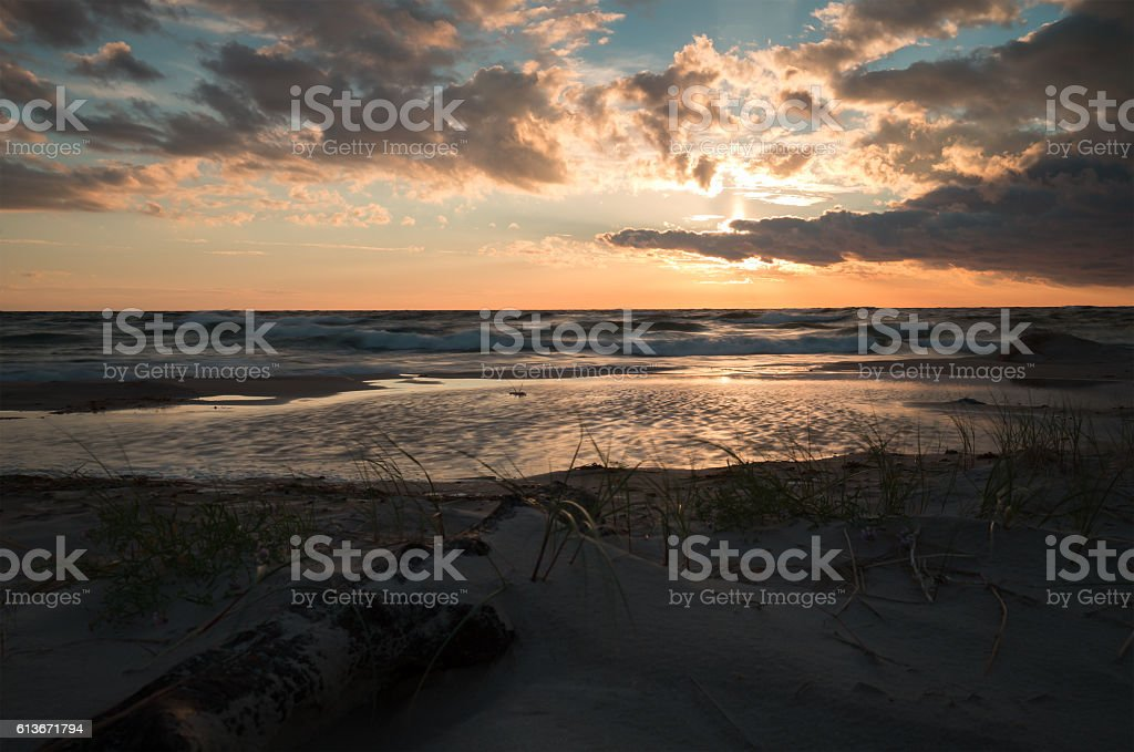 Sunset after a summers day at a swedish beach stock photo