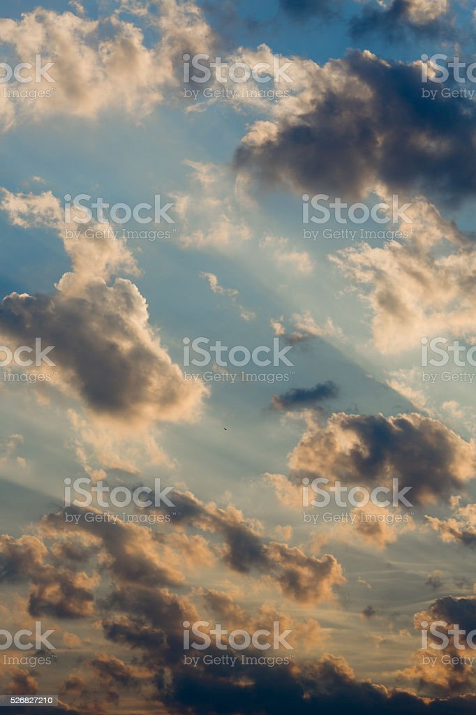 Sunset against the sky with clouds stock photo