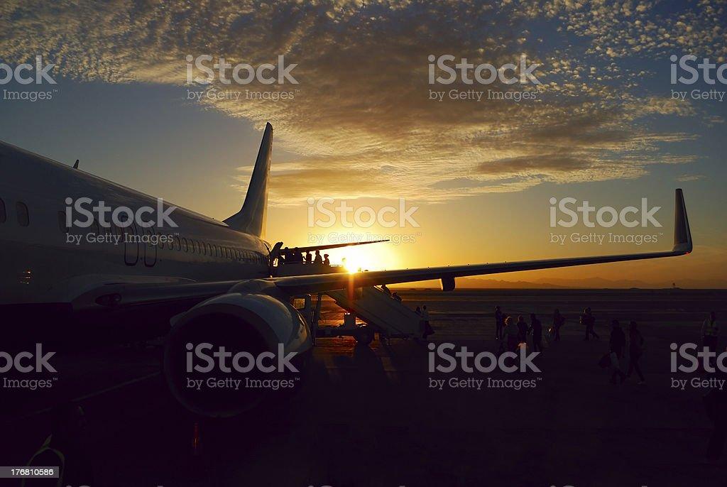 sunset aicraft royalty-free stock photo
