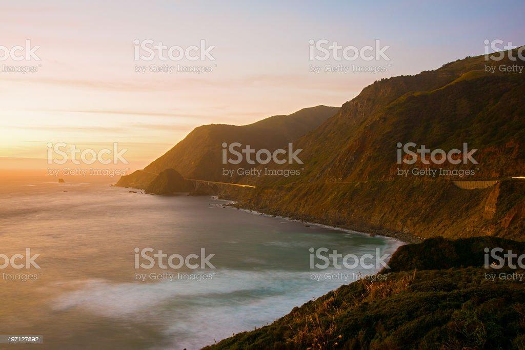Sunset Along Big Sur California stock photo