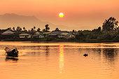 Sunset along river in Kuching, Borneo