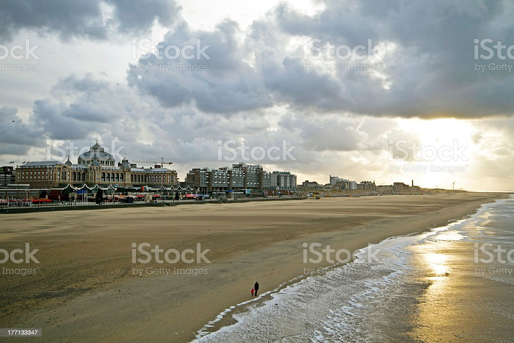 Sunset along the north sea coast at Scheveningen Netherlands stock photo