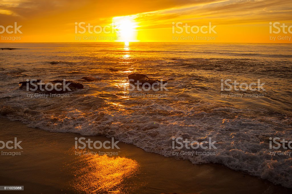 Sunset along the ocean in San Diego California stock photo