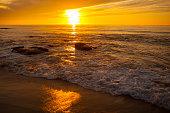 Sunset along the ocean in San Diego California