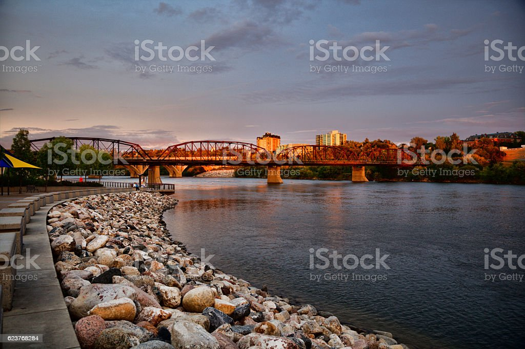 Sunset Along The South Saskatchewan River in Downtown Saskatoon stock photo