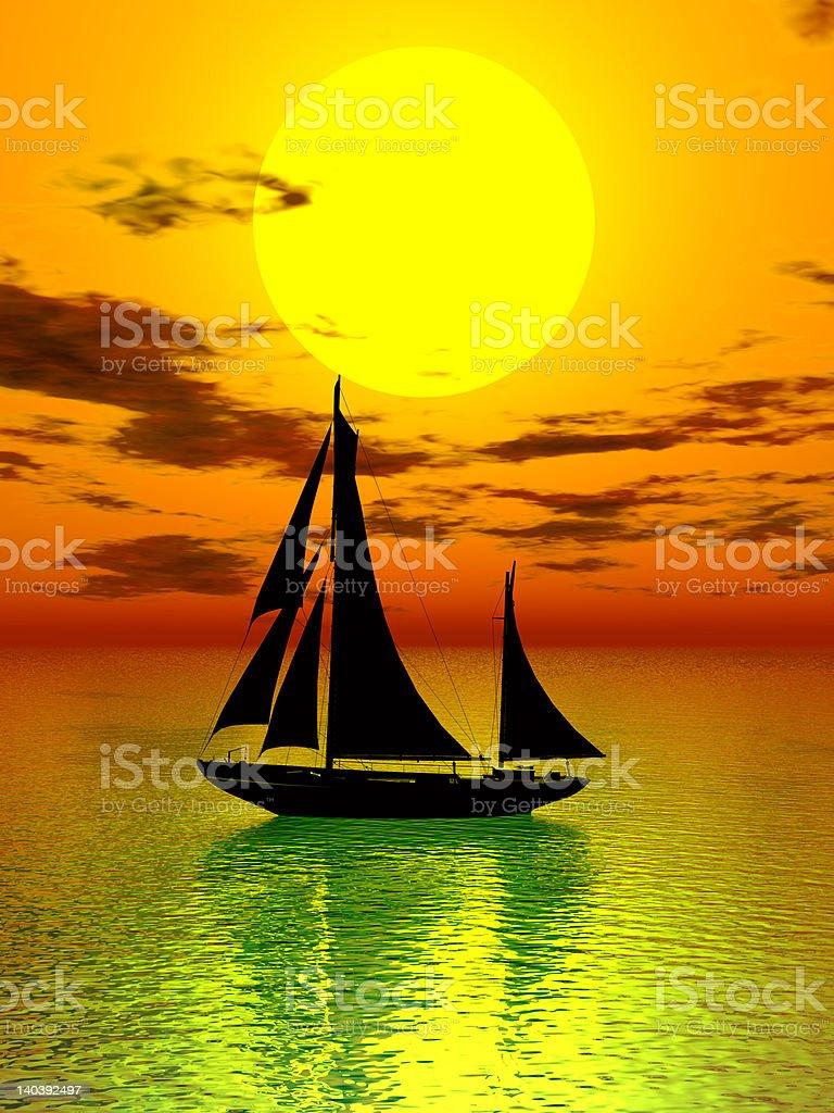 Sunset & boat royalty-free stock photo
