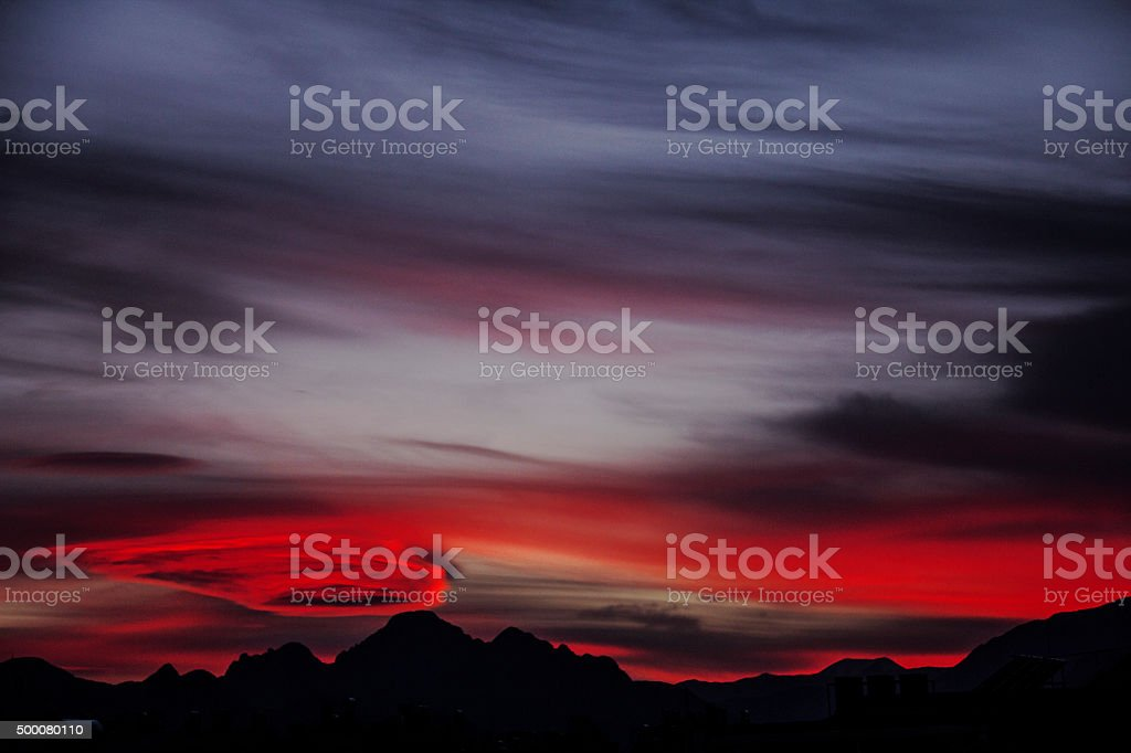 Sunset and a cloudy sky. stock photo