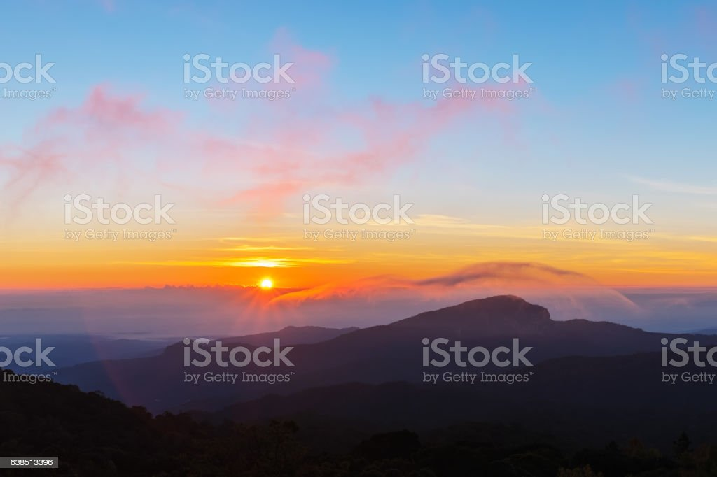 sunset and big mountain stock photo