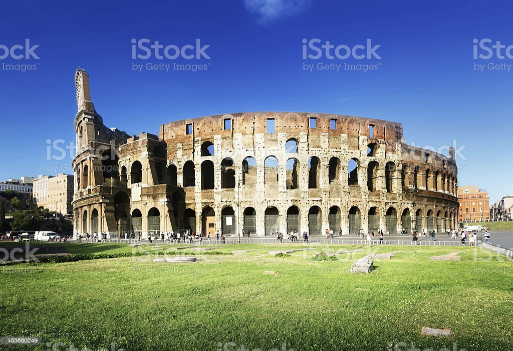 sunset and Colosseum in Rome, Italy stock photo