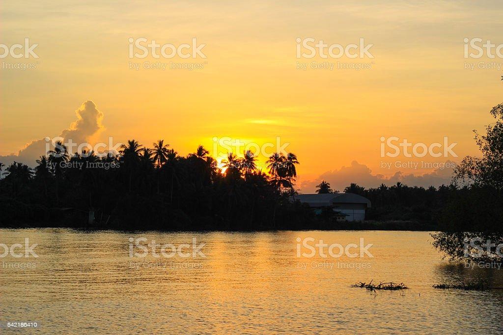 sunset  and evening sky at Mae Klong River stock photo