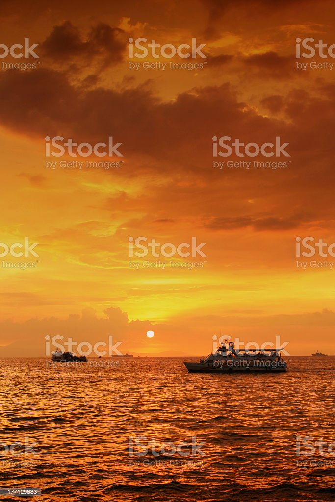Sunset and Ferries royalty-free stock photo