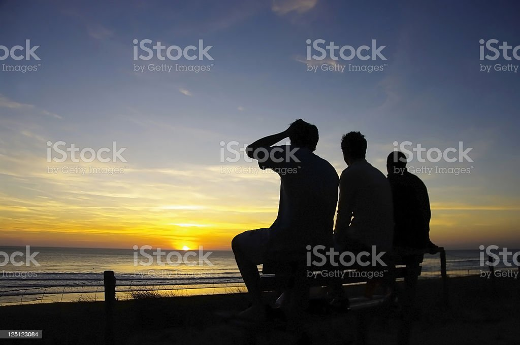 Sunset and friendschip stock photo