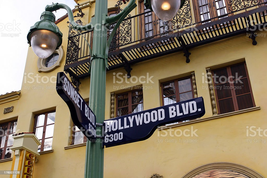 Sunset and Hollywood Blvd drive sign royalty-free stock photo